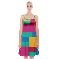 Rainbow Color Blocks Spaghetti Strap Velvet Dress