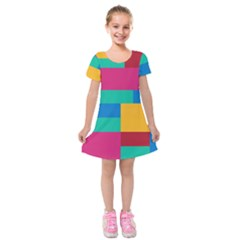 Rainbow Color Blocks Kids  Short Sleeve Velvet Dress by retrotoomoderndesigns