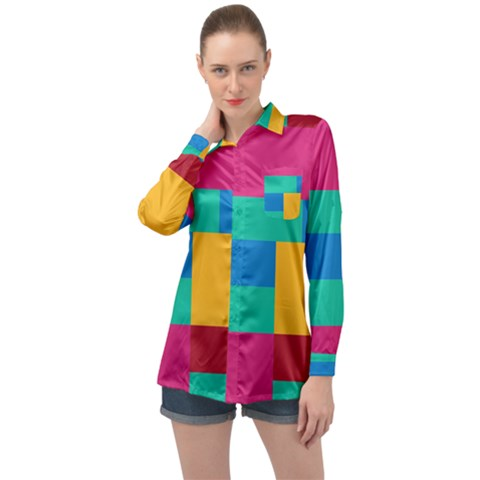 Rainbow Color Blocks Long Sleeve Satin Shirt by retrotoomoderndesigns