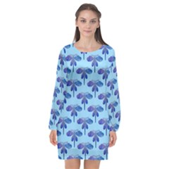 Blue Dragonfly  Long Sleeve Chiffon Shift Dress  by VeataAtticus