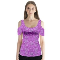 Roses And Roses A Soft  Purple Flower Bed Ornate Butterfly Sleeve Cutout Tee