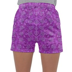 Roses And Roses A Soft  Purple Flower Bed Ornate Sleepwear Shorts