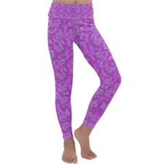 Roses And Roses A Soft  Purple Flower Bed Ornate Kids  Lightweight Velour Classic Yoga Leggings by pepitasart