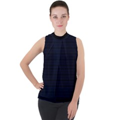 Mid Nite Blue Mock Neck Chiffon Sleeveless Top