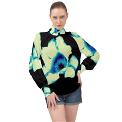 Blue And Yellow Tulip High Neck Long Sleeve Chiffon Top