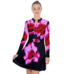 Pink And Red Tulip Long Sleeve Panel Dress