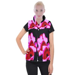 Pink And Red Tulip Women s Button Up Vest by okhismakingart