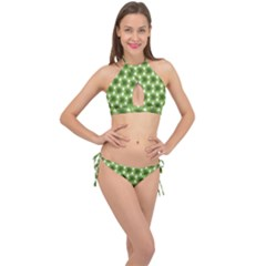 Green Color Flower Floral Pattern Cross Front Halter Bikini Set
