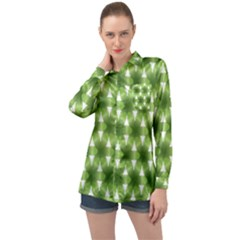 Green Color Flower Floral Pattern Long Sleeve Satin Shirt