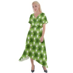 Green Color Flower Floral Pattern Cross Front Sharkbite Hem Maxi Dress by AnjaniArt