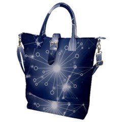 Network Technology Connection Buckle Top Tote Bag