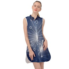 Network Technology Connection Sleeveless Shirt Dress by Alisyart