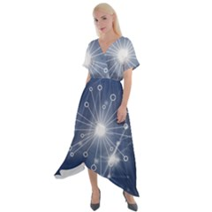 Network Technology Connection Cross Front Sharkbite Hem Maxi Dress by Alisyart