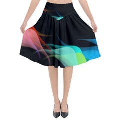 Flower 3d Colorm Design Background Flared Midi Skirt by HermanTelo