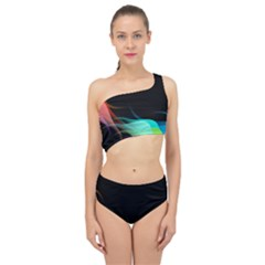Flower 3d Colorm Design Background Spliced Up Two Piece Swimsuit