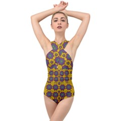 Bohemian Rare  Fantasy Flowers In The Festive Sun Cross Front Low Back Swimsuit