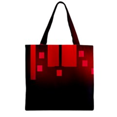 Light Neon City Buildings Sky Red Zipper Grocery Tote Bag