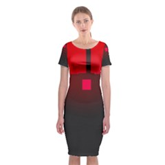 Light Neon City Buildings Sky Red Classic Short Sleeve Midi Dress