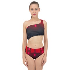 Light Neon City Buildings Sky Red Spliced Up Two Piece Swimsuit