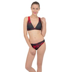 Light Neon City Buildings Sky Red Classic Banded Bikini Set