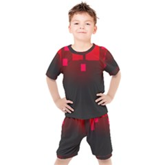 Light Neon City Buildings Sky Red Kids  Tee And Shorts Set by HermanTelo