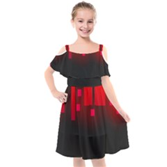 Light Neon City Buildings Sky Red Kids  Cut Out Shoulders Chiffon Dress