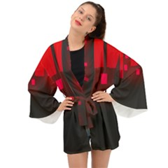 Light Neon City Buildings Sky Red Long Sleeve Kimono