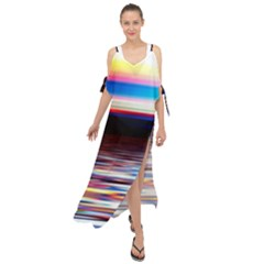 Lake Sea Water Wave Sunset Maxi Chiffon Cover Up Dress