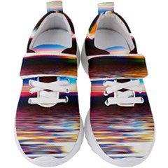 Lake Sea Water Wave Sunset Kids  Velcro Strap Shoes