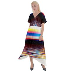 Lake Sea Water Wave Sunset Cross Front Sharkbite Hem Maxi Dress by HermanTelo