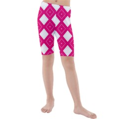 Backgrounds Pink Kids  Mid Length Swim Shorts