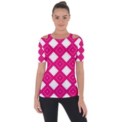 Backgrounds Pink Shoulder Cut Out Short Sleeve Top