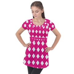 Backgrounds Pink Puff Sleeve Tunic Top by HermanTelo