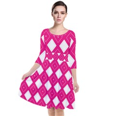 Backgrounds Pink Quarter Sleeve Waist Band Dress
