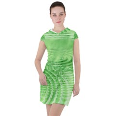 Wave Concentric Circle Green Drawstring Hooded Dress