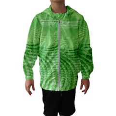 Wave Concentric Circle Green Kids  Hooded Windbreaker