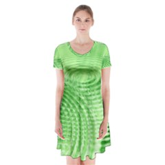 Wave Concentric Circle Green Short Sleeve V Neck Flare Dress