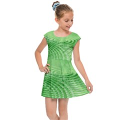 Wave Concentric Circle Green Kids  Cap Sleeve Dress by HermanTelo