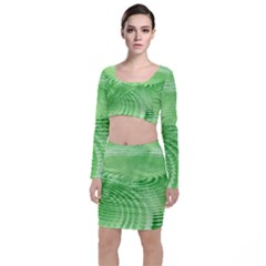 Wave Concentric Circle Green Top And Skirt Sets