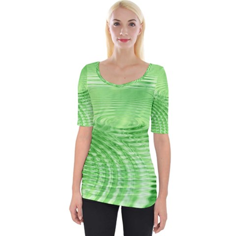 Wave Concentric Circle Green Wide Neckline Tee by HermanTelo