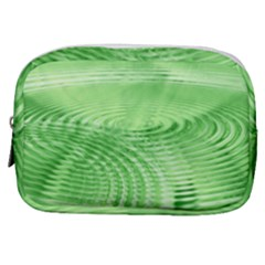 Wave Concentric Circle Green Make Up Pouch (small) by HermanTelo