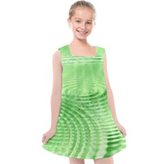 Wave Concentric Circle Green Kids  Cross Back Dress