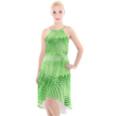 Wave Concentric Circle Green High Low Halter Chiffon Dress