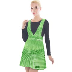 Wave Concentric Circle Green Plunge Pinafore Velour Dress