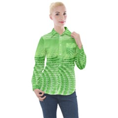Wave Concentric Circle Green Women s Long Sleeve Pocket Shirt