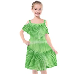 Wave Concentric Circle Green Kids  Cut Out Shoulders Chiffon Dress