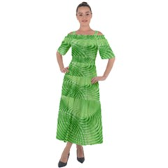 Wave Concentric Circle Green Shoulder Straps Boho Maxi Dress