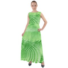 Wave Concentric Circle Green Chiffon Mesh Boho Maxi Dress