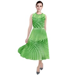 Wave Concentric Circle Green Round Neck Boho Dress