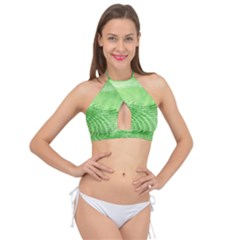 Wave Concentric Circle Green Cross Front Halter Bikini Top